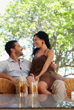Happy husband and wife doing honeymoon in resort Royalty Free Stock Image