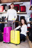 Happy husband and wife selecting handy trunk. Smiling husband and young wife selecting handy trunk in store Royalty Free Stock Images