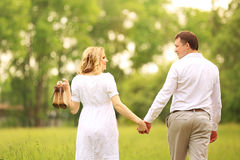 Happy husband and wife on a walk in the Park. Husband and wife on a walk in the Park Royalty Free Stock Image