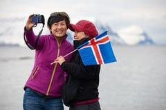 Happy iceland tourist selfie stock image