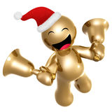 Happy icon figure with santa hat and bells. 3d illustration Stock Images