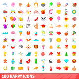 100 happy icons set, cartoon style Royalty Free Stock Image