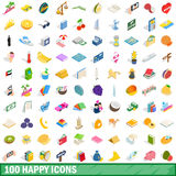 100 happy icons set, isometric 3d style. 100 happy icons set in isometric 3d style for any design vector illustration Royalty Free Stock Images