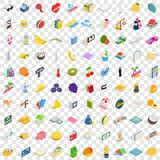 100 happy icons set, isometric 3d style. 100 happy icons set in isometric 3d style for any design vector illustration Stock Photo