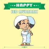 Happy ied mubarak cartoon Stock Image