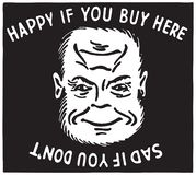 Happy If You Buy Here. Retro Ad Art Banner royalty free illustration