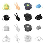 Happy, image, lifestyle, and other web icon in cartoon style.Backpack, handles, pocket icons in set collection. Royalty Free Stock Images