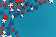 Free Happy Independence Day 4th July Background With American Flag Decorated And Stars. Holidays Pattern Top View. Flat Lay Banner Royalty Free Stock Images - 187670669