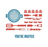 HAPPY independence day of America, invitation for. Bbq part Stock Photo
