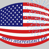Happy Independence Day. American flag with an inscription and fireworks Stock Images