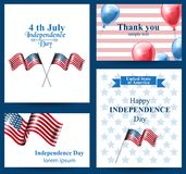 Happy Independence day american flag Vector cards. 4th of july postcard set. Collection stock illustration