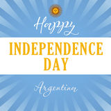 Happy Independence Day Argentina sun light stripes banner. Argentina Independence Day vector typography for national holidays stock illustration