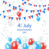 Happy Independence Day background. With balloons, pennants and confetti, illustration Royalty Free Stock Image