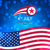 Happy Independence Day background. Color banner with American flag on the blue background. American Independence Day celebration backdrop with effect bokeh Stock Images