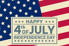 Happy Independence Day background template. Happy 4th of july poster. Happy 4th of july and Independence day on top of American flag. Patriotic banner. Vector Stock Photo