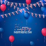Happy Independence Day banner. Color background with air balloons and with a garland from American flags. American Memorial Day celebration poster, vector Stock Image