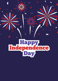 Happy Independence day banner with fireworks Royalty Free Stock Photo