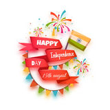 Happy independence day banner. India. Red ribbon Royalty Free Stock Photo