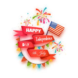 Happy independence day banner. Red ribbon with Royalty Free Stock Photography