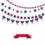 Happy Independence Day banner. White background with a garland from American flags. American Independence Day celebration poster, stock illustration