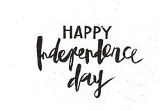 Happy Independence Day Black. Happy Independence Day hand drawn lettering design vector royalty free stock illustration perfect for advertising, poster Stock Photos
