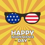 Happy Independence Day card with glasses with stars and stripes. United states of America celebrates - 4th of July. Vector. Happy Independence Day card with Stock Photo