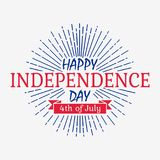 Happy Independence Day card with ribbon and sunburst. United states of America celebrates - 4th of July. Vector banner. Happy Independence Day card with ribbon Stock Photography