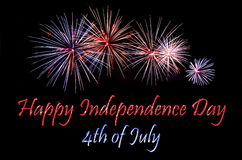 Happy Independence Day. Card for Independence Day 4th July with fireworks on the black background Royalty Free Stock Photos