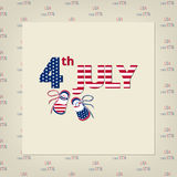 Happy independence day card United States of America. Beige background, text and children's shoes in the colors of the national flag. Date of large numbers and Royalty Free Illustration