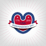 Happy independence day card United States of America. Red heart on a light background. Independence day card and ribbons, with rays around Royalty Free Stock Images