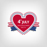 Happy independence day card United States of America. Red heart on a light background. Independence day card and ribbons, with stars around Stock Image