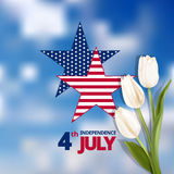 Happy independence day card United States of America. Independence day card with stars in the colors of the national flag and white tulips. Date of large numbers Stock Photos