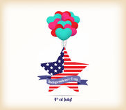 Happy independence day card United States of America. 4 th of July banner illustration design with american flag Royalty Free Stock Photography