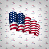 Happy independence day card United States of America. Independence day card with US flag on a light background with text Royalty Free Stock Photos