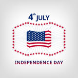 Happy independence day card United States of America. Independence day card with US flag, stars and rays around Stock Photo