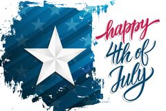 Happy Independence Day celebrate banner with silver star on brush stroke background and hand lettering text Happy 4th of July. United States national holiday royalty free illustration