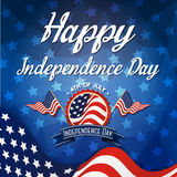 Happy independence day celebration greeting card. Design with badge logo, star, wavy flag Royalty Free Stock Photography