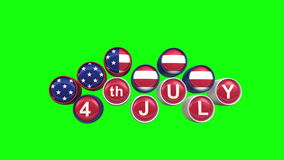 Happy Independence day with chroma key Background. 3 d animation stock video