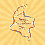 Happy Independence Day in Colombia. Greeting card for 20 July. Retro with vintage background Stock Photos