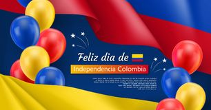 Happy Independence day festive banner. Colombian national holiday celebrated 20th of July. Patriotic vector concept with realistic waving colombian flag and Royalty Free Stock Photo