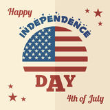 Happy Independence Day flat design. 4th of July - American Independence Day flat design greeting card Royalty Free Stock Images
