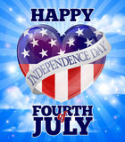 Happy Independence Day Fourth of July. A happy Fourth of July American Independence Day heart sky design Stock Images