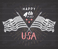 Happy Independence Day, fourth of july, Vintage greeting card wirh USA flags, United States of America celebration. Hand lettering Stock Photos