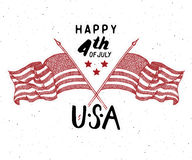 Happy Independence Day, fourth of july, Vintage greeting card wirh USA flags, United States of America celebration. Hand lettering Royalty Free Stock Images