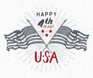 Happy Independence Day, fourth of july, Vintage greeting card wirh USA flags, United States of America celebration. Hand lettering Stock Photography
