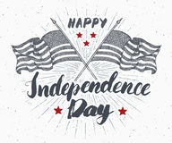 Happy Independence Day, fourth of july, Vintage greeting card wirh USA flags, United States of America celebration. Hand lettering Stock Images