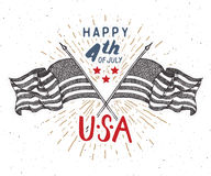 Happy Independence Day, fourth of july, Vintage greeting card wirh USA flags, United States of America celebration. Hand lettering Royalty Free Stock Photo