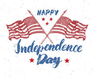 Happy Independence Day, fourth of july, Vintage greeting card wirh USA flags, United States of America celebration. Hand lettering Stock Photo