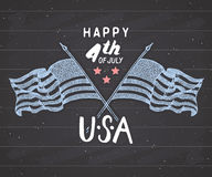 Happy Independence Day, fourth of july, Vintage greeting card wirh USA flags, United States of America celebration. Hand lettering Royalty Free Stock Image