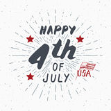 Happy Independence Day, fourth of july, Vintage USA greeting card, United States of America celebration. Hand lettering, american Stock Photo